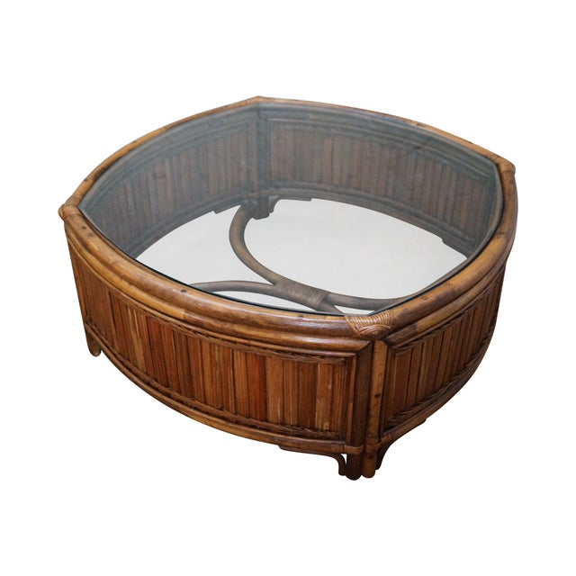 Image of Vintage Bamboo Rattan Glass Top Coffee Table