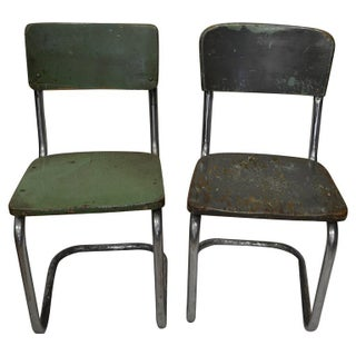 Industrial 1950s Factory Chairs - A Pair