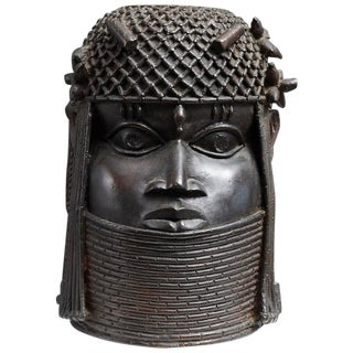 Benin Bronze Memorial Head Sculpture