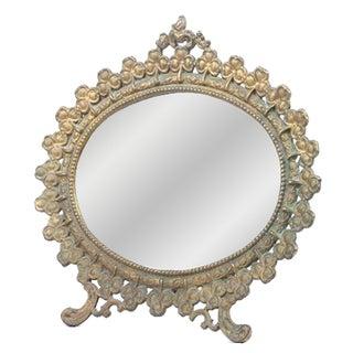 Vintage French Brass Clover Vanity Mirror