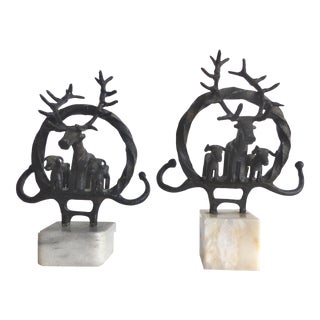 Bronze Anatolian Style Stag Sculptures-A Pair