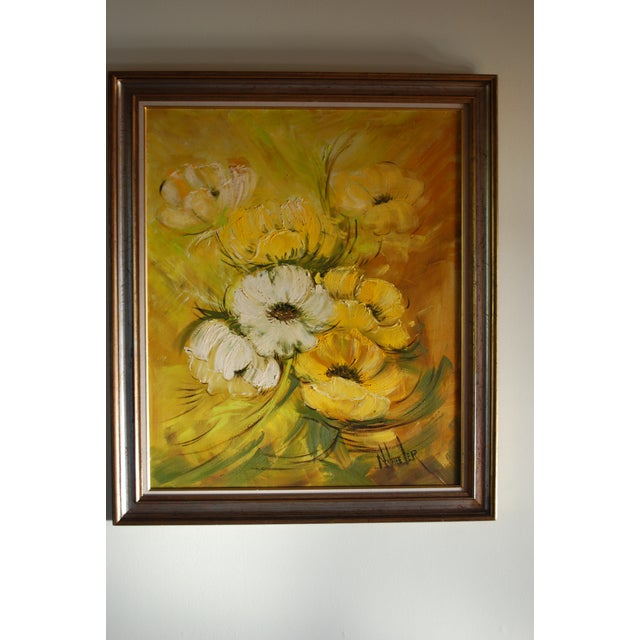 Image of Mid Century Hollywood Regency Poppy Painting