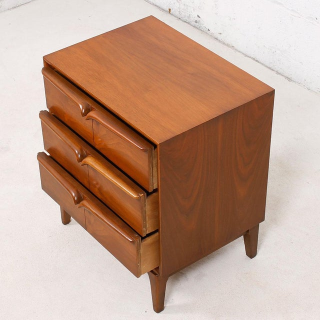 walnut mcm sculpted pull compact nightstand chairish