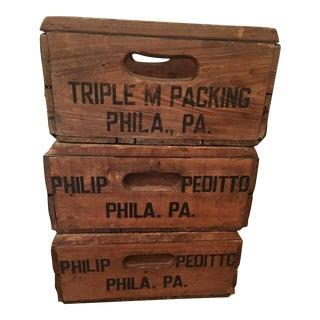 Vintage Wood Milk Crates - Set of 3