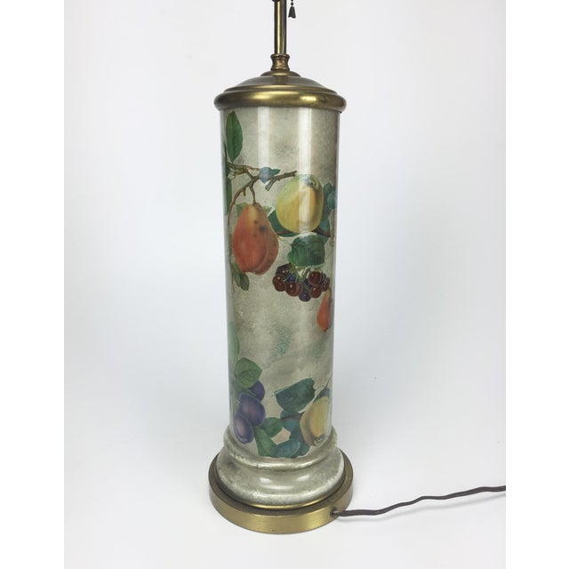 Image of Mid-Century Decoupage Silvered Glass Table Lamp