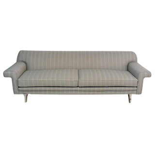 Streamlined Sofa with Nickel Leg Appliques