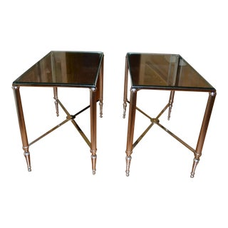 Williams-Sonoma Chrome and Glass Side Tables - A Pair