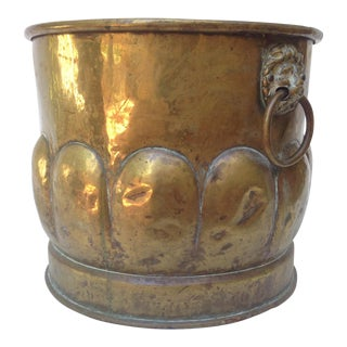 English Brass Container With Lion Ring Handles