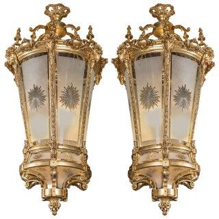 Palatial Empire Doré Bronze Lanterns - A Pair