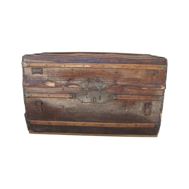 Antique Rustic Embossed Leather & Wood Trunk - Image 1 of 9