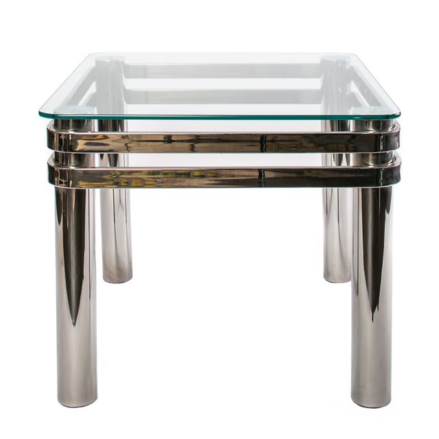 1970 Chrome & Glass Side Table - Image 1 of 2