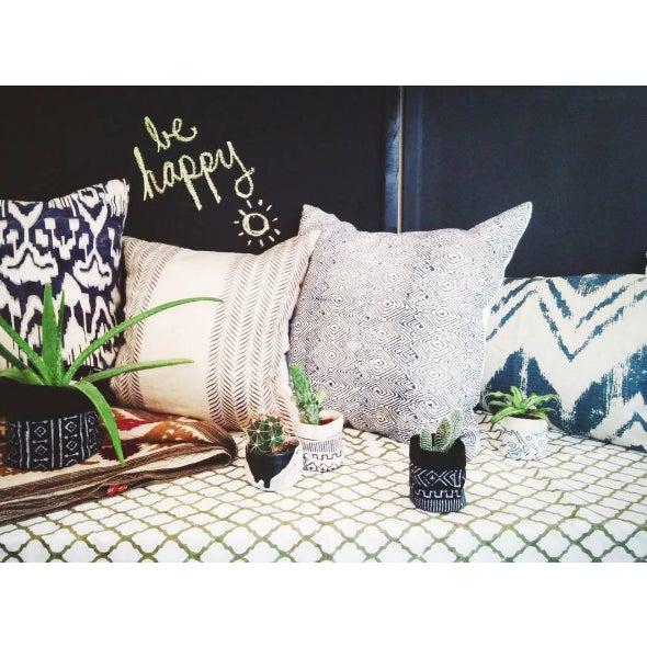 Blue Brush Stroke Linen Pillow - Image 3 of 3