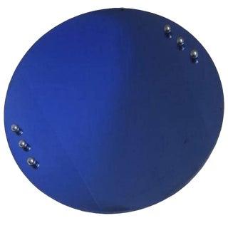 American Art Deco Cobalt Blue Mirror with Six Chrome Balls