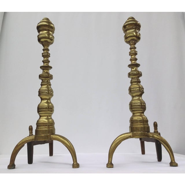 Vintage Aged Brass Andirons - Image 2 of 9