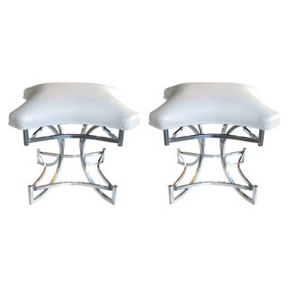 Mod Pair of American 1970s Square-Form Chrome Stools with White Leather Seats