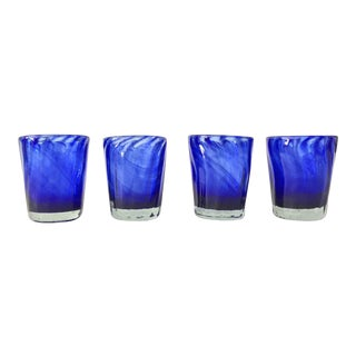 Vintage Handblown Cobalt Glasses - Set of 4