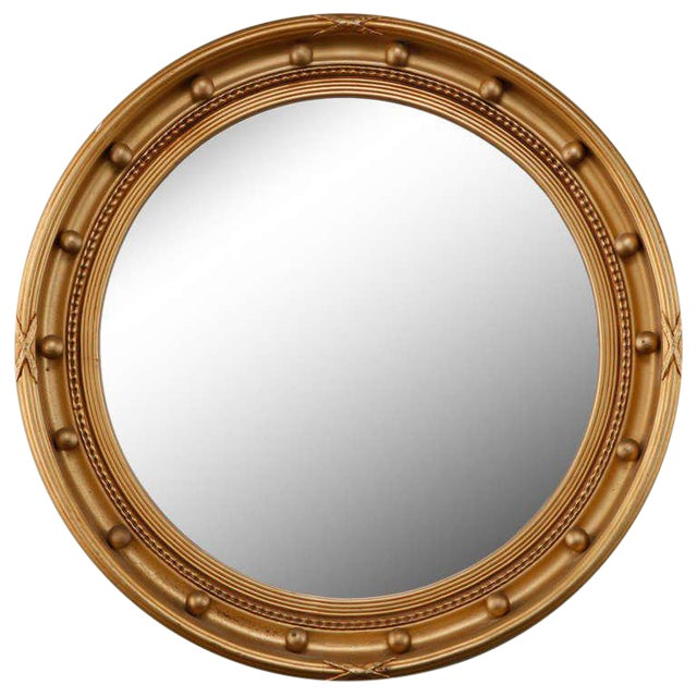 1920s Gilded Round Frame Mirror with Beaded Trim - Image 1 of 4