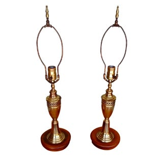 Vintage Mid Century Brass Table Lamps - Pair