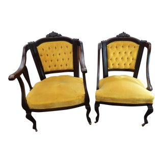 Victorian Tufted Velvet His & Hers Chairs - A Pair