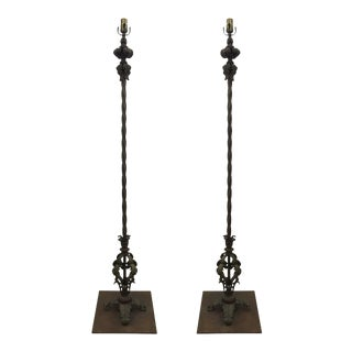 Wrought Iron Floor Lamps - a Pair