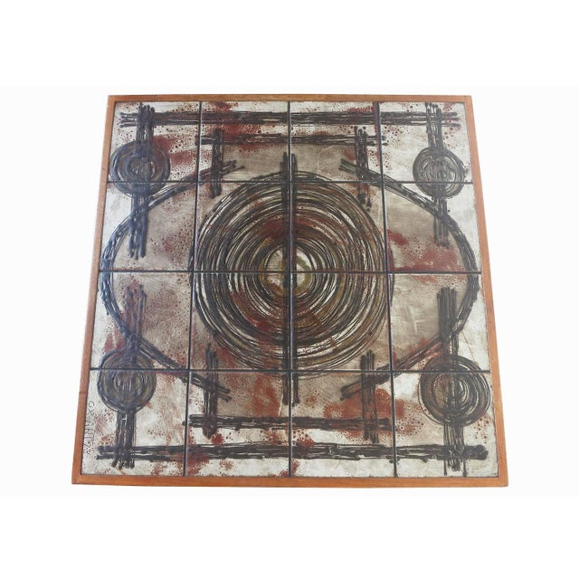 Image of Tile Top Coffee Table With Teak Base by Ox-Art