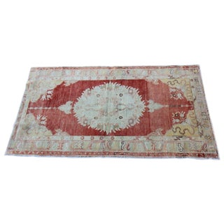 "Vintage Turkish Oushak Hand-Knotted Rug - 3'5"" x 5'10"""