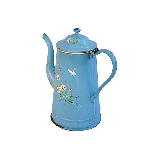 French Hand-Painted Enamelware Coffeepot - Image 6 of 7