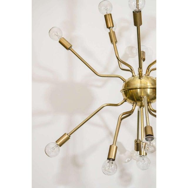 Italian Brass Spider Sputnik Chandelier Pendant Attributed to Arredoluce - Image 5 of 7