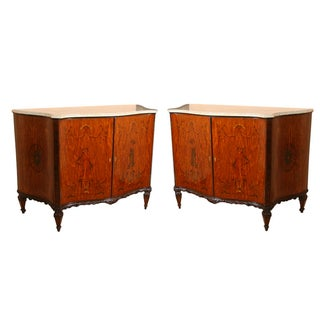 Edwardian Adams Style Marble Top Cabinets - Pair