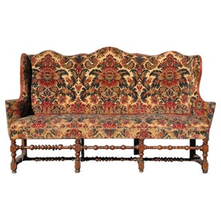 Early 18th Century Italian or Flemish Walnut High Back Wing Settee or Sofa