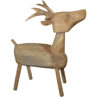 Indonesian Wooden Standing Deer Figurine
