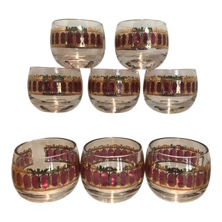 Culver Small Red Scroll Roly Poly Glasses - Set of 8