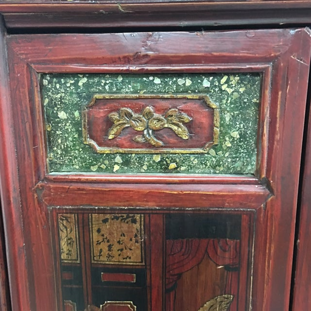 Vintage Hand Painted Asian Wedding Cabinet - Image 5 of 11