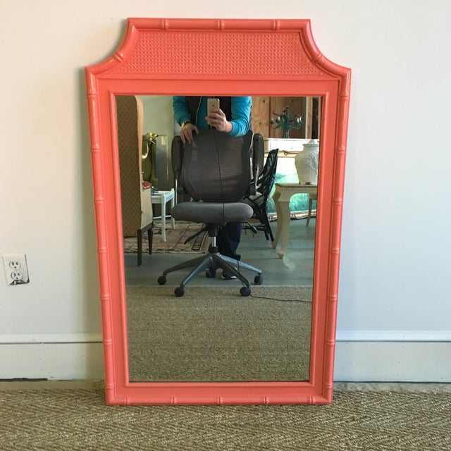 Vintage Coral Faux Bamboo Pagoda Style Mirror - Image 10 of 10