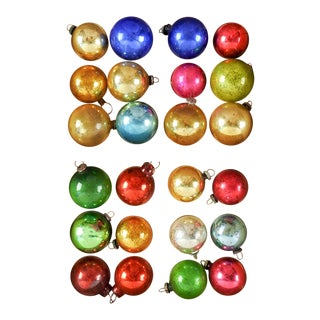 Vintage Christmas Ornaments Mini Various Colors - Set of 24