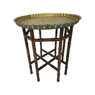 Vintage Brass Top Faux Bamboo Wood Side Table