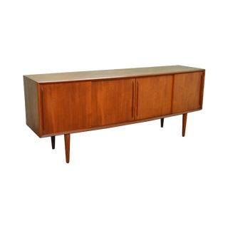 Danish Modern Mid Century Teak Long Sliding Door Sideboard