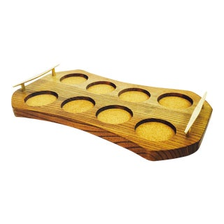 Mid Century Wood Drink Serving Tray