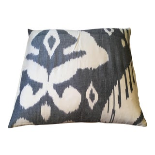 Gray & White Ikat Pillow