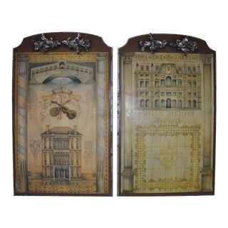 Italian Architectural Print Plaques - A Pair
