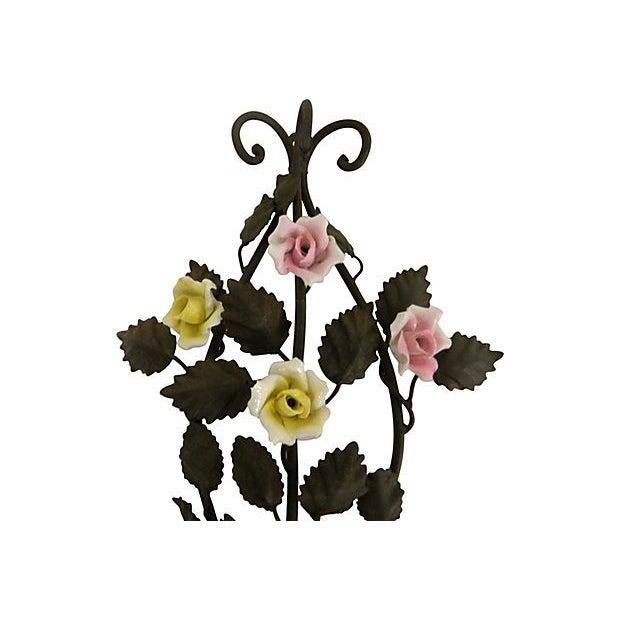 Image of Italian Tole & Porcelain Rose Sconces