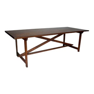 Custom Walnut Wood Tavern Style Table With X Stretcher and Straight Legs