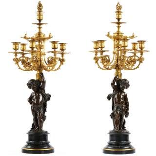 Victor Paillard Napoleon III Bronze Six-Light Candelabras - A Pair