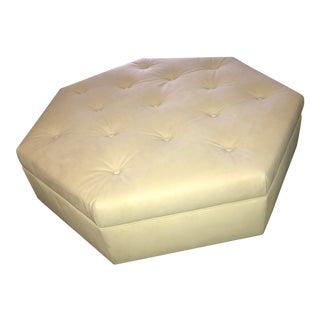 Truex Heptagonal Ottoman in Cream Velour Suede