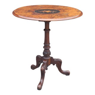 Antique English Burl Walnut Wine Table