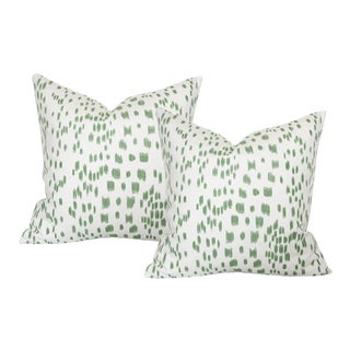 """Les Touches Green Pillow Covers - a Pair 22""""sq"""