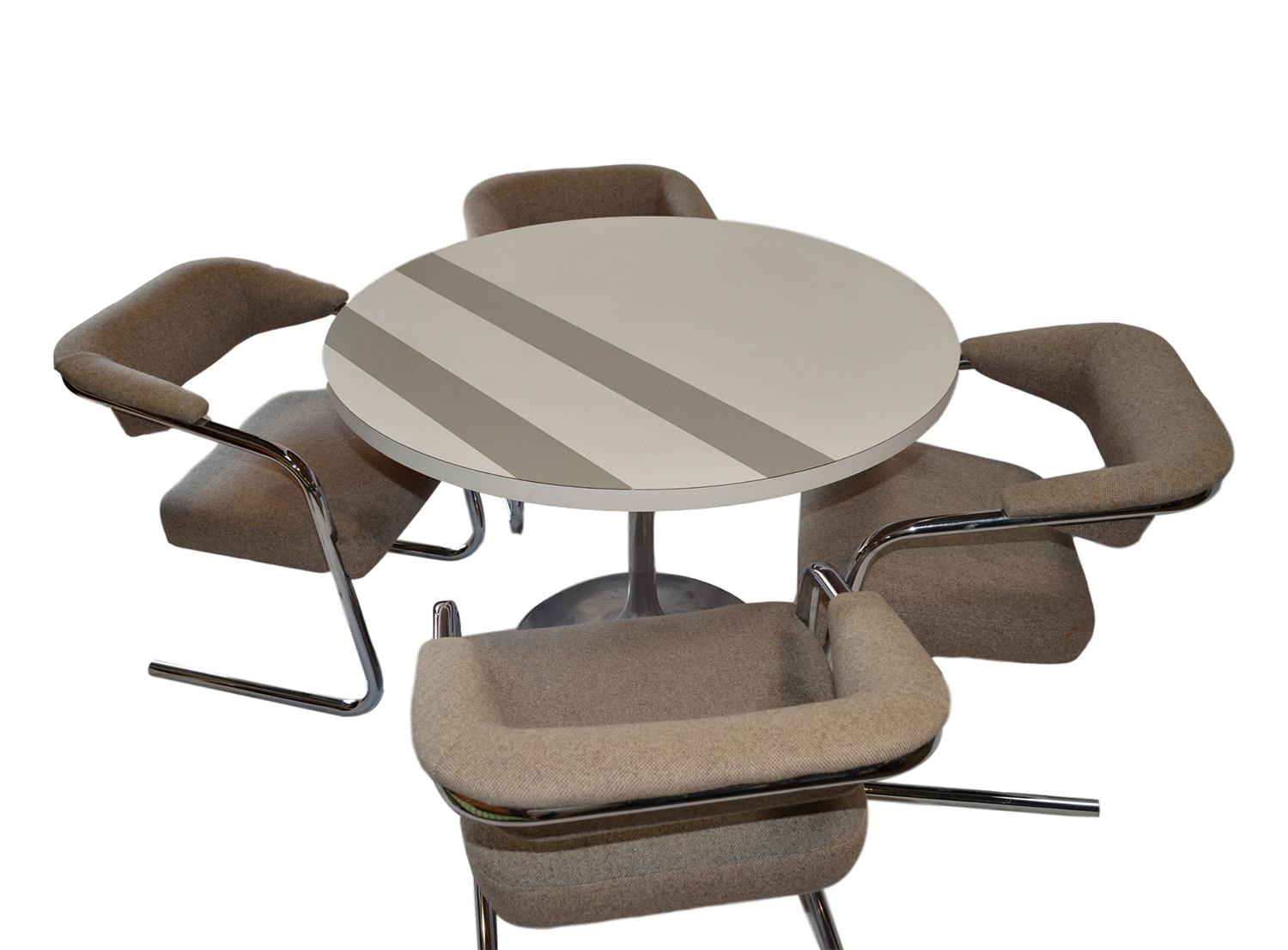 Mid Century Circular Table U0026 4 Cantilever Dining Chairs   Image 2 Of 10