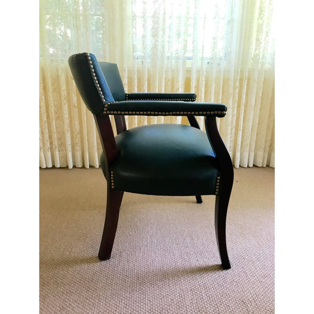 Mid Century Studded Green Leather Library Club Chair - Image 6 of 8