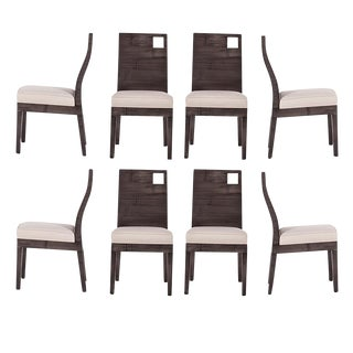 David Francis Modern Rattan Dining Chairs- Set of 8
