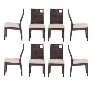 David Francis Modern Rattan Dining Chairs- Set of 8